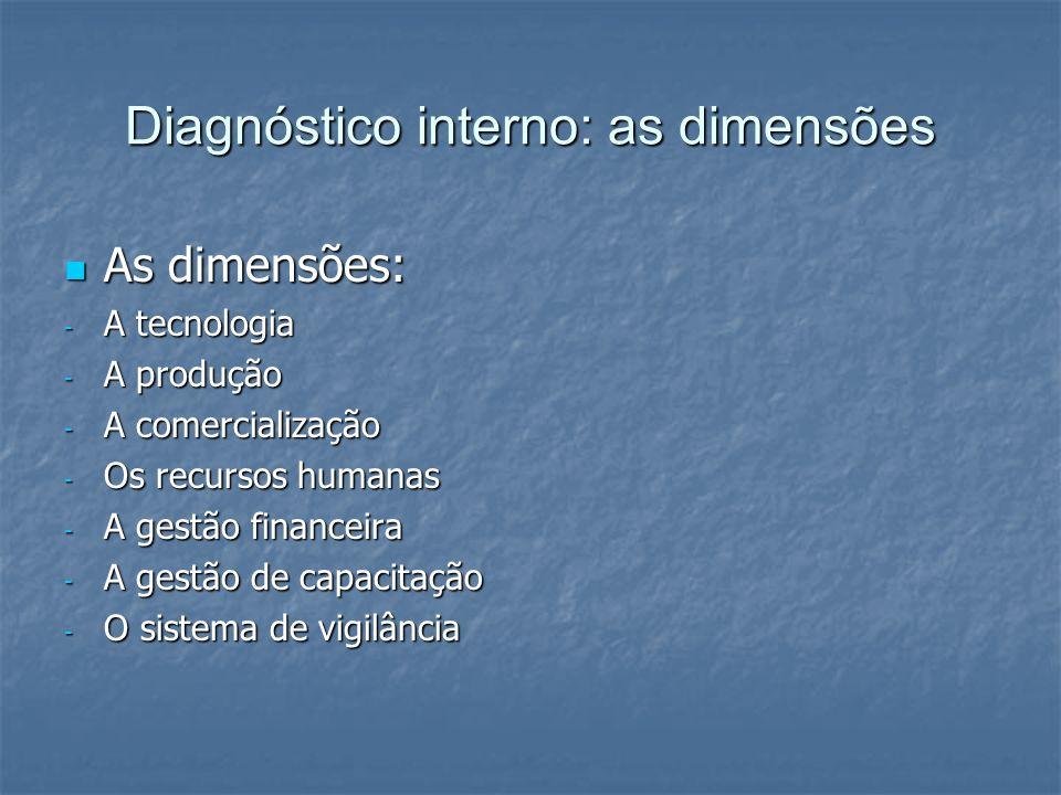 Diagnóstico interno: as dimensões As dimensões: As dimensões: - A tecnologia - A produção - A comercialização - Os recursos humanas - A gestão finance