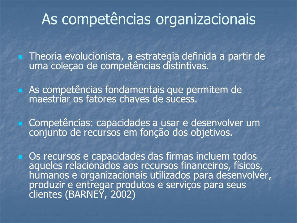 Recursos/competências Competência: combinação sinérgica de conhecimentos, habilidades e atitudes expressas pelo desempenho num contexto organizacional, que agregam valor ás pessoas e a organização.