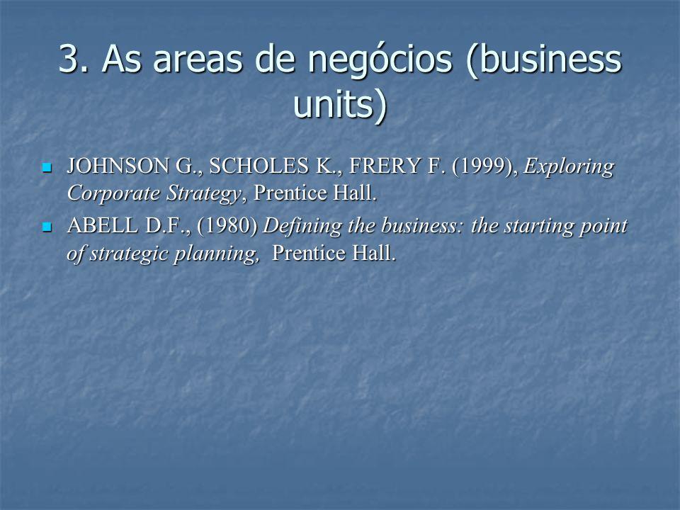 3. As areas de negócios (business units) JOHNSON G., SCHOLES K., FRERY F. (1999), Exploring Corporate Strategy, Prentice Hall. JOHNSON G., SCHOLES K.,