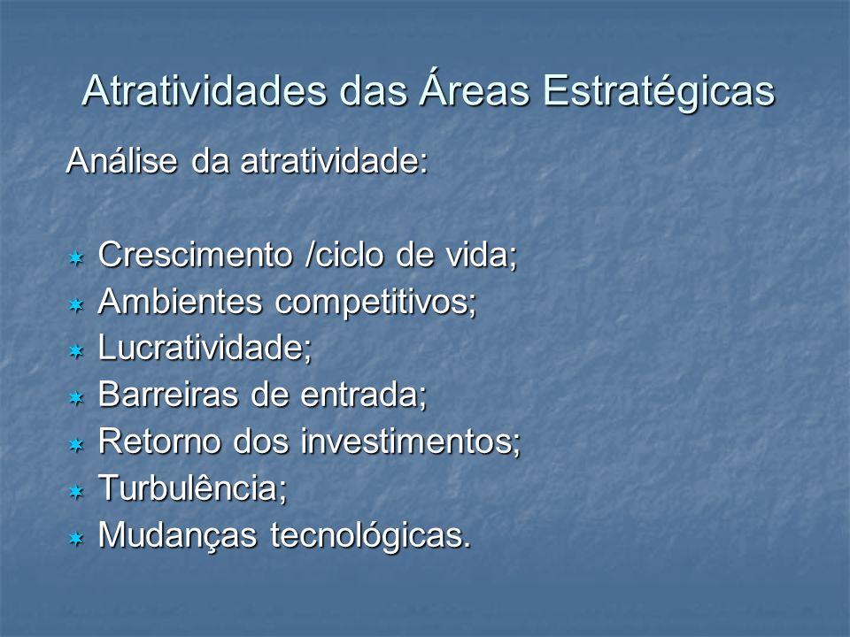 Atratividades das Áreas Estratégicas Análise da atratividade: Crescimento /ciclo de vida; Crescimento /ciclo de vida; Ambientes competitivos; Ambiente
