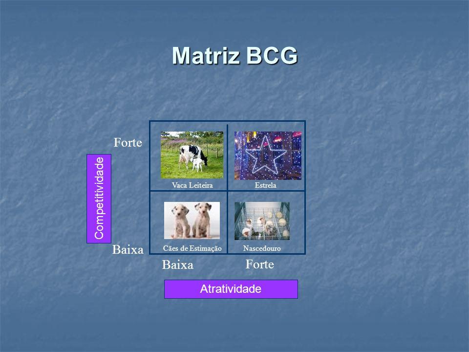 Matriz BCG Vaca Leiteira Nascedouro Competitividade Atratividade NascedouroCães de Estimação EstrelaVaca Leiteira Forte Baixa Forte