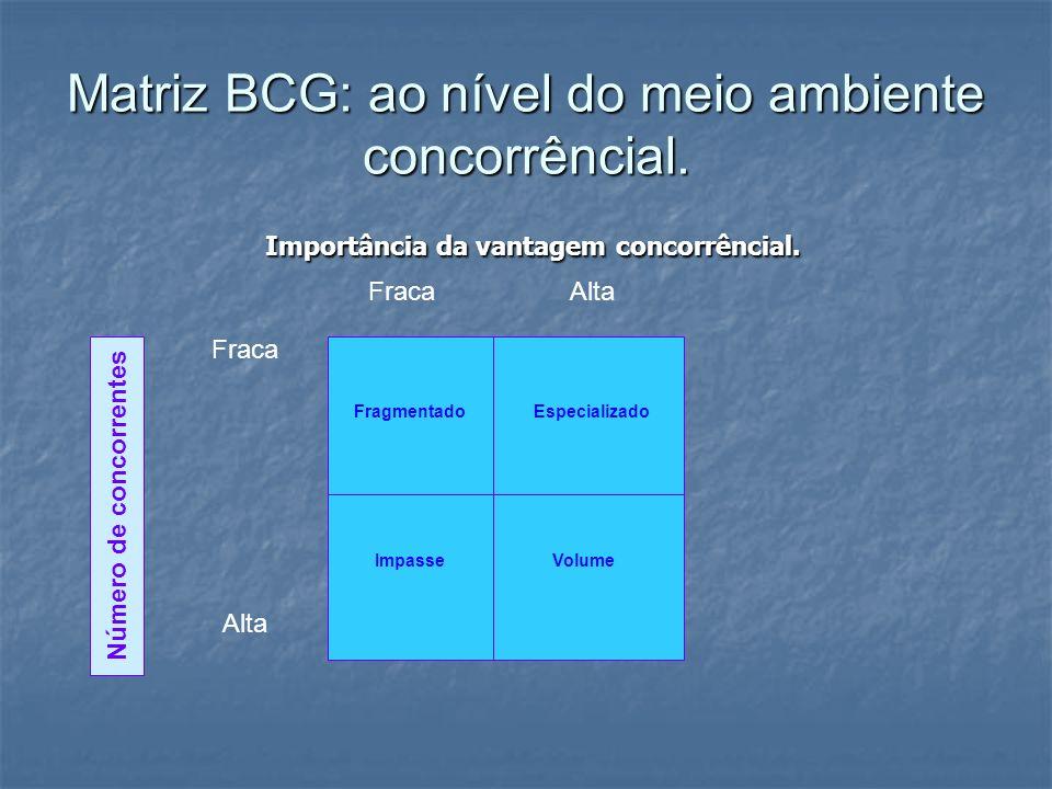 Matriz BCG: ao nível do meio ambiente concorrêncial. Importância da vantagem concorrêncial. Importância da vantagem concorrêncial. FragmentadoEspecial