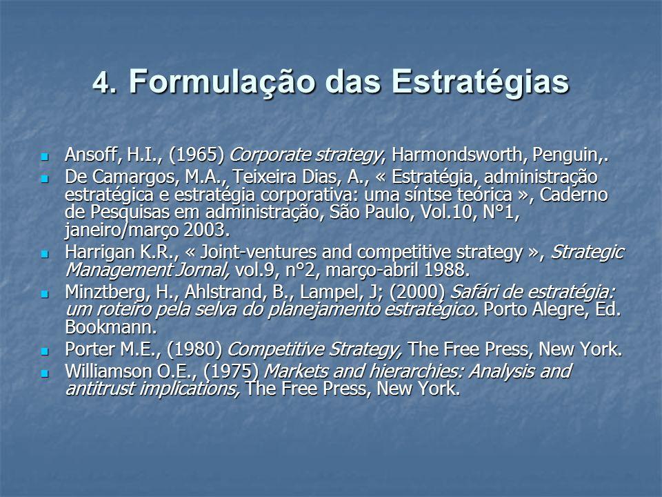 4. Formulação das Estratégias Ansoff, H.I., (1965) Corporate strategy, Harmondsworth, Penguin,. Ansoff, H.I., (1965) Corporate strategy, Harmondsworth