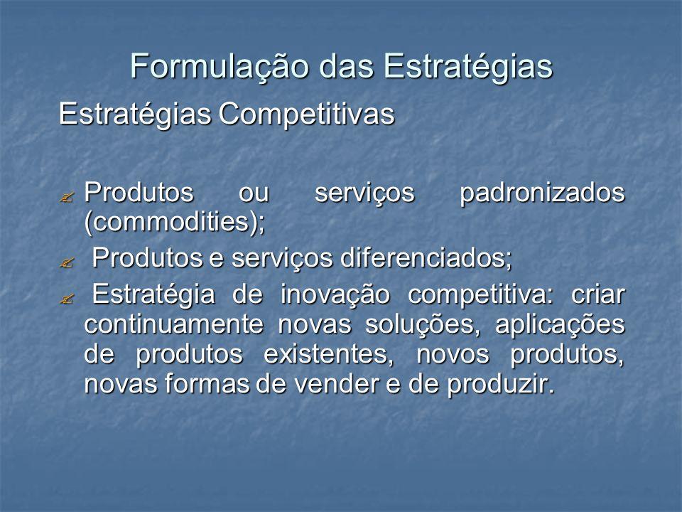 Formulação das Estratégias Estratégias Competitivas Produtos ou serviços padronizados (commodities); Produtos ou serviços padronizados (commodities);