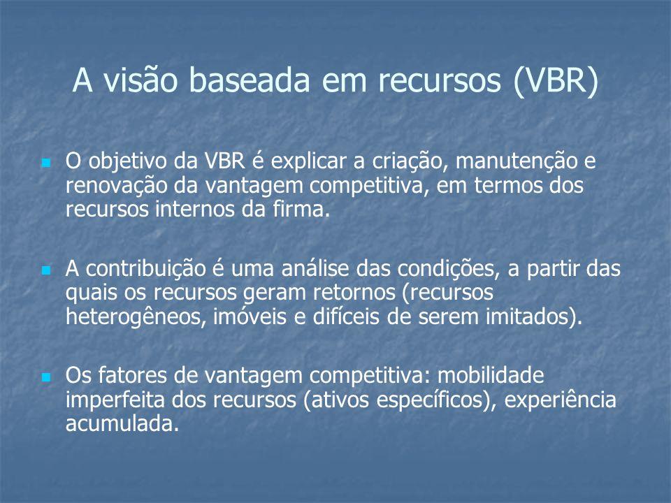 A visão baseada em recursos (VBR) O objetivo da VBR é explicar a criação, manutenção e renovação da vantagem competitiva, em termos dos recursos inter