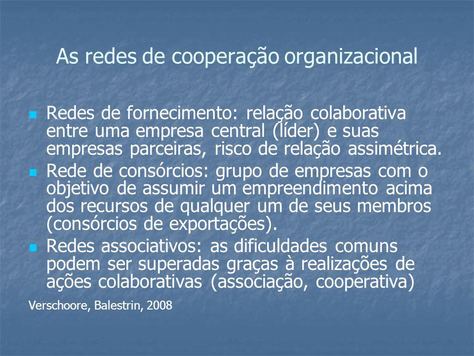 As redes de cooperação organizacional Redes de fornecimento: relação colaborativa entre uma empresa central (líder) e suas empresas parceiras, risco d