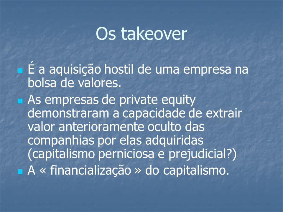 Os takeover É a aquisição hostil de uma empresa na bolsa de valores. As empresas de private equity demonstraram a capacidade de extrair valor anterior