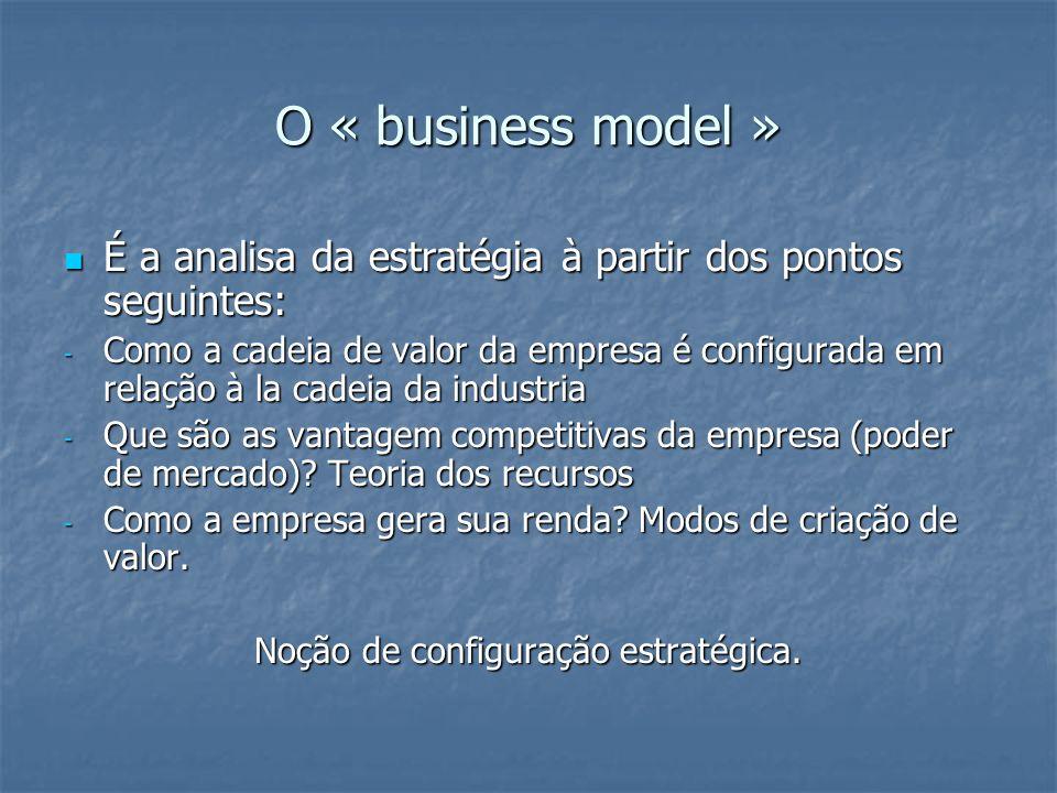 O « business model » É a analisa da estratégia à partir dos pontos seguintes: É a analisa da estratégia à partir dos pontos seguintes: - Como a cadeia