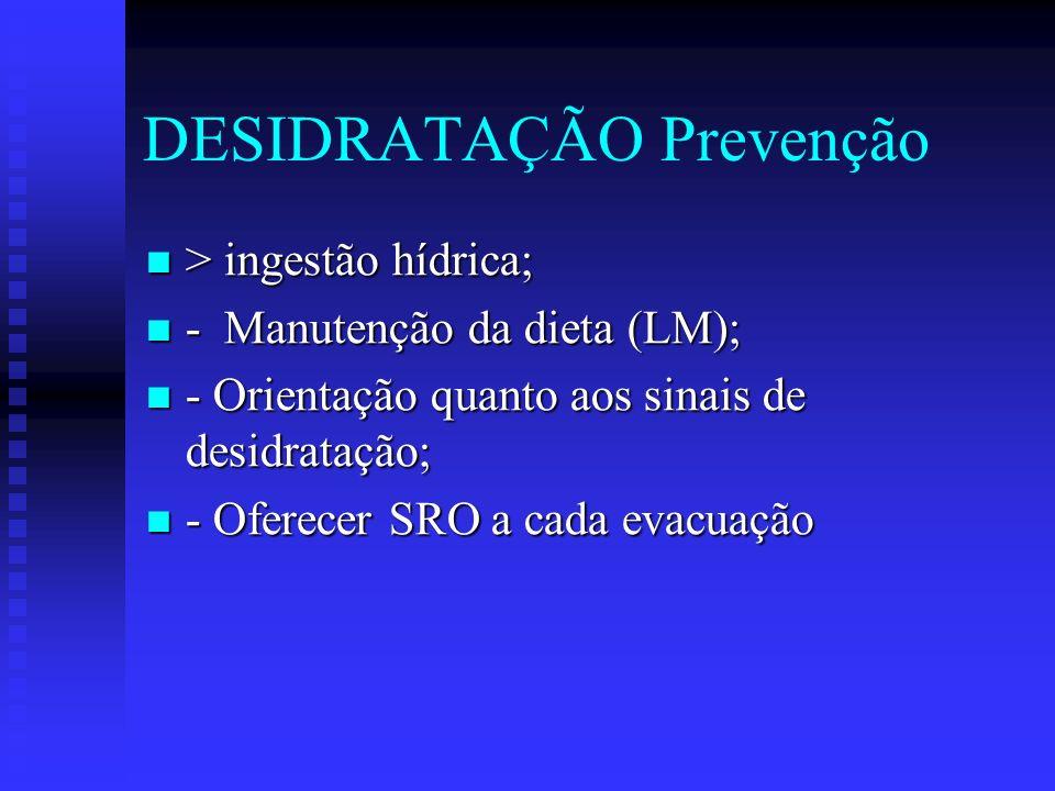 DESIDRATAÇÃO Prevenção > ingestão hídrica; > ingestão hídrica; - Manutenção da dieta (LM); - Manutenção da dieta (LM); - Orientação quanto aos sinais