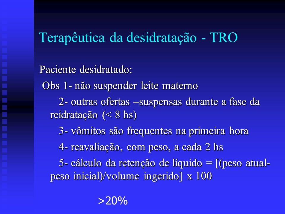 Terapêutica da desidratação - TRO Paciente desidratado: Obs 1- não suspender leite materno Obs 1- não suspender leite materno 2- outras ofertas –suspe