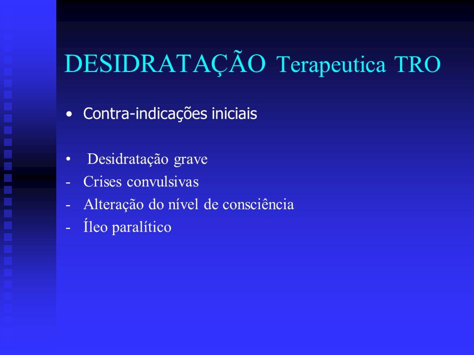 DESIDRATAÇÃO Terapeutica TRO Contra-indicações iniciais Desidratação grave - -Crises convulsivas - -Alteração do nível de consciência - -Íleo paralíti