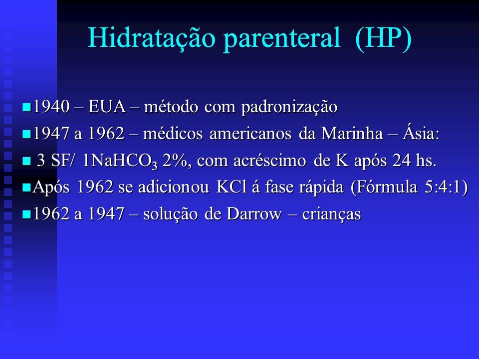 Hidratação parenteral (HP) 1940 – EUA – método com padronização 1940 – EUA – método com padronização 1947 a 1962 – médicos americanos da Marinha – Ási