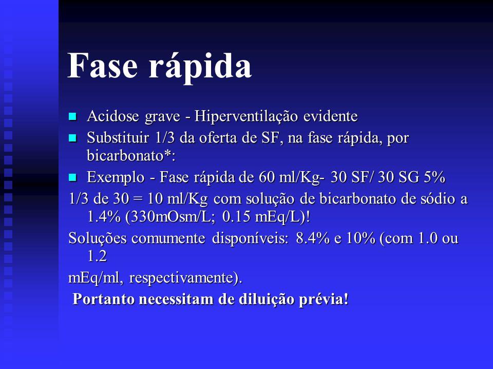 Fase rápida Acidose grave - Hiperventilação evidente Acidose grave - Hiperventilação evidente Substituir 1/3 da oferta de SF, na fase rápida, por bica