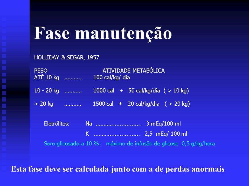 Fase manutenção HOLLIDAY & SEGAR, 1957 PESO ATIVIDADE METABÓLICA ATÉ 10 kg........... 100 cal/kg/ dia 10 - 20 kg........... 1000 cal + 50 cal/kg/dia (