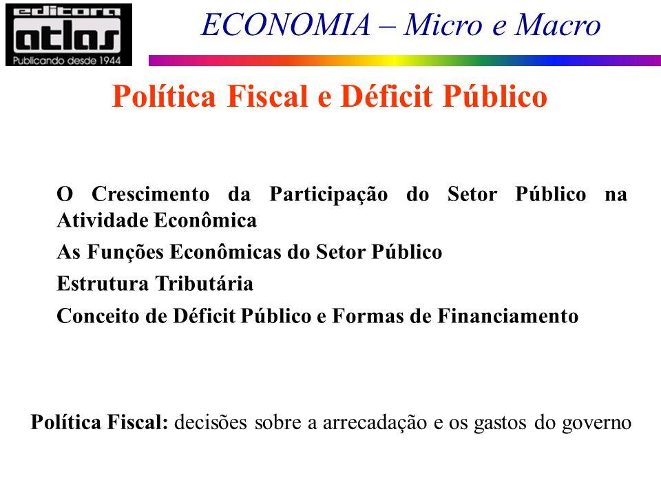 ECONOMIA – Micro e Macro 1 Política Fiscal e Déficit Público O Crescimento da Participação do Setor Público na Atividade Econômica As Funções Econômicas do Setor Público Estrutura Tributária Conceito de Déficit Público e Formas de Financiamento Política Fiscal: decisões sobre a arrecadação e os gastos do governo