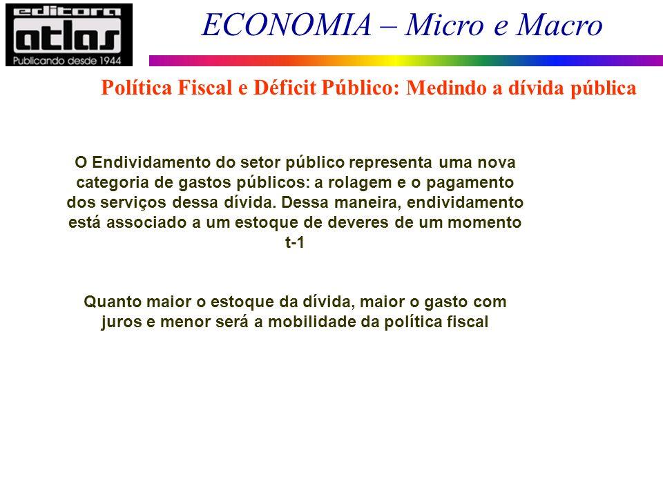 ECONOMIA – Micro e Macro 11 Política Fiscal e Déficit Público: Medindo a dívida pública O Endividamento do setor público representa uma nova categoria de gastos públicos: a rolagem e o pagamento dos serviços dessa dívida.