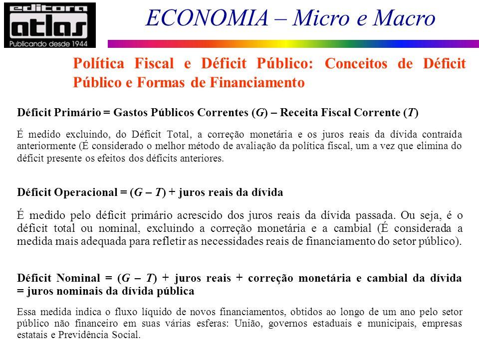 ECONOMIA – Micro e Macro 12 Déficit Primário = Gastos Públicos Correntes (G) – Receita Fiscal Corrente (T) É medido excluindo, do Déficit Total, a cor