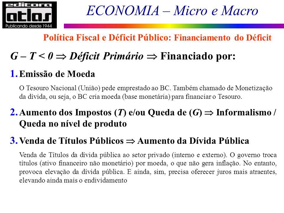 ECONOMIA – Micro e Macro 13 Política Fiscal e Déficit Público: Financiamento do Déficit G – T < 0 Déficit Primário Financiado por: 1. Emissão de Moeda