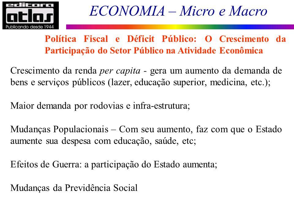 ECONOMIA – Micro e Macro 2 Crescimento da renda per capita - gera um aumento da demanda de bens e serviços públicos (lazer, educação superior, medicin