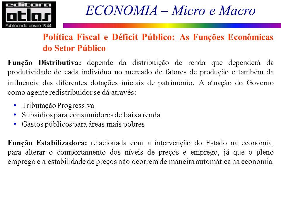 ECONOMIA – Micro e Macro 5 Função Distributiva: depende da distribuição de renda que dependerá da produtividade de cada indivíduo no mercado de fatore