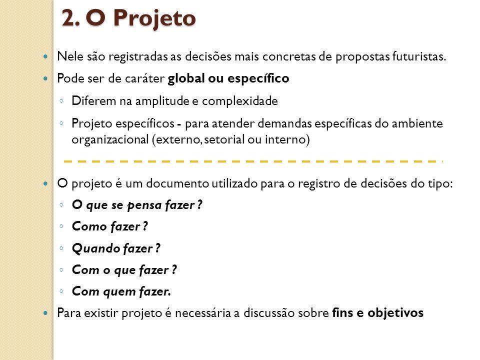 2. O Projeto Nele são registradas as decisões mais concretas de propostas futuristas. Pode ser de caráter global ou específico Diferem na amplitude e