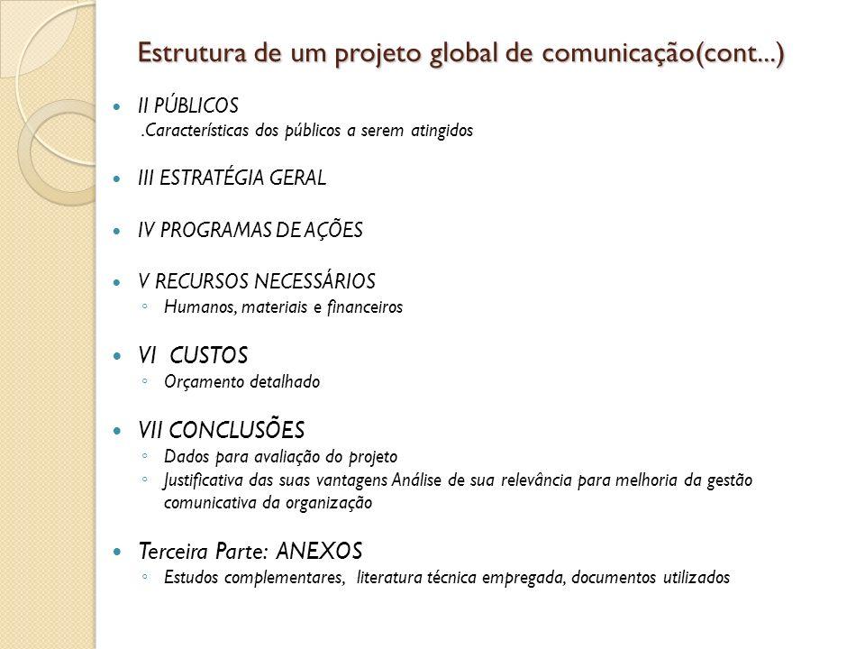 Estrutura de um projeto global de comunicação(cont...) II PÚBLICOS.Características dos públicos a serem atingidos III ESTRATÉGIA GERAL IV PROGRAMAS DE
