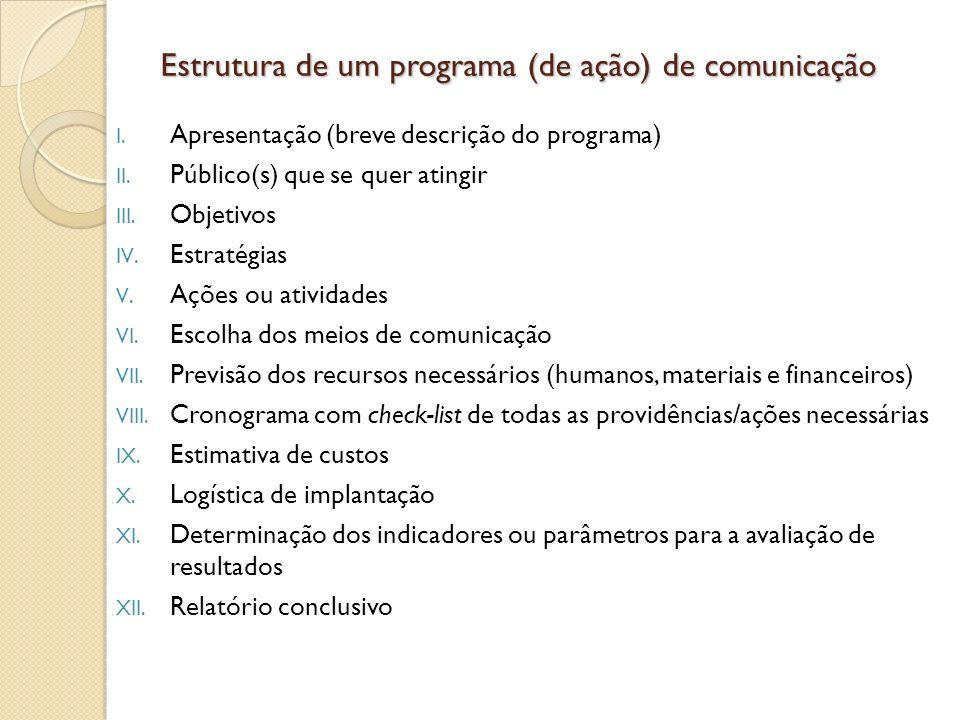Estrutura de um programa (de ação) de comunicação I. Apresentação (breve descrição do programa) II. Público(s) que se quer atingir III. Objetivos IV.