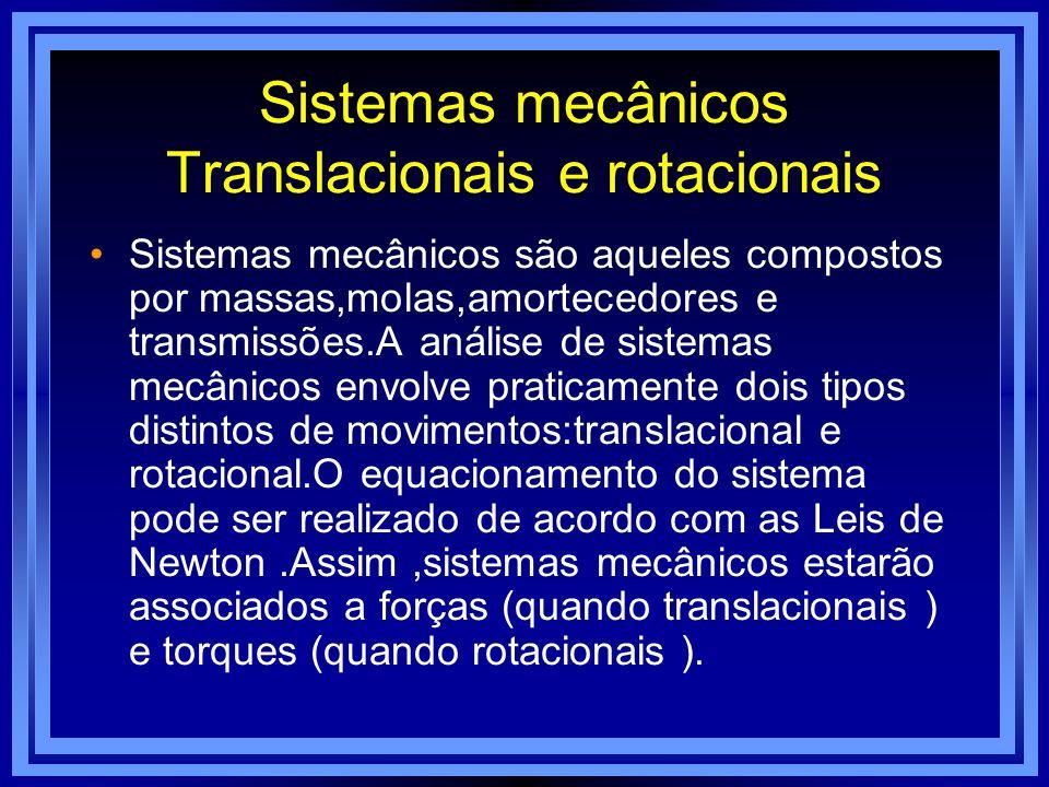 Sistemas mecânicos Translacionais e rotacionais Sistemas mecânicos são aqueles compostos por massas,molas,amortecedores e transmissões.A análise de si