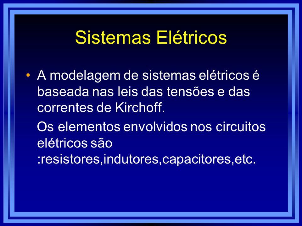 Sistemas Elétricos A modelagem de sistemas elétricos é baseada nas leis das tensões e das correntes de Kirchoff. Os elementos envolvidos nos circuitos