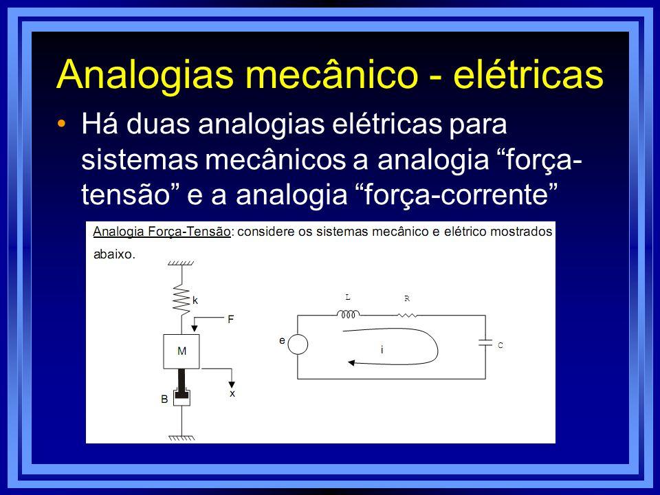 Analogias mecânico - elétricas Há duas analogias elétricas para sistemas mecânicos a analogia força- tensão e a analogia força-corrente