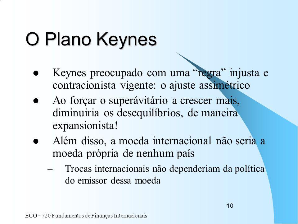 ECO - 720 Fundamentos de Finanças Internacionais 10 O Plano Keynes Keynes preocupado com uma regra injusta e contracionista vigente: o ajuste assimétr