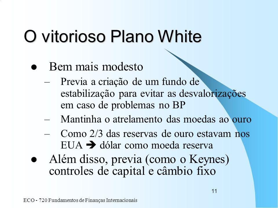 ECO - 720 Fundamentos de Finanças Internacionais 11 O vitorioso Plano White Bem mais modesto –Previa a criação de um fundo de estabilização para evita
