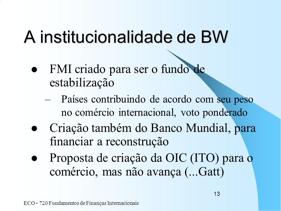 ECO - 720 Fundamentos de Finanças Internacionais 13 A institucionalidade de BW FMI criado para ser o fundo de estabilização –Países contribuindo de ac