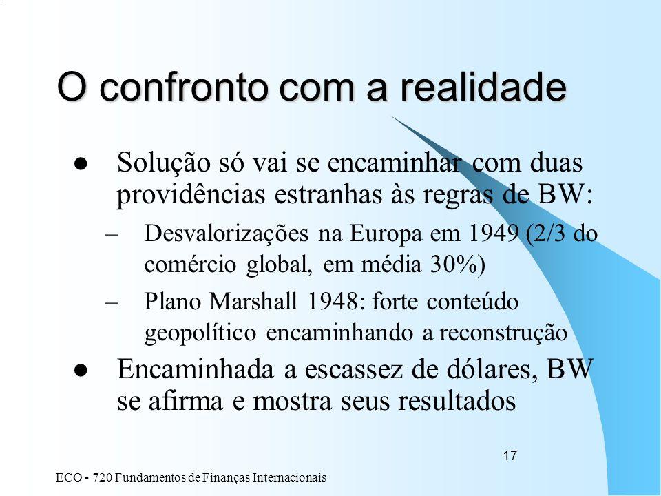 ECO - 720 Fundamentos de Finanças Internacionais 17 O confronto com a realidade Solução só vai se encaminhar com duas providências estranhas às regras