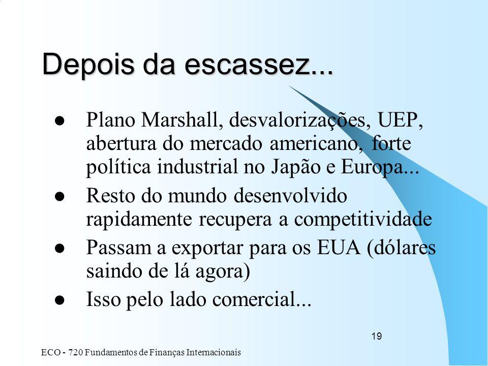 ECO - 720 Fundamentos de Finanças Internacionais 19 Depois da escassez... Plano Marshall, desvalorizações, UEP, abertura do mercado americano, forte p