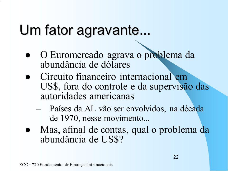 ECO - 720 Fundamentos de Finanças Internacionais 22 Um fator agravante... O Euromercado agrava o problema da abundância de dólares Circuito financeiro