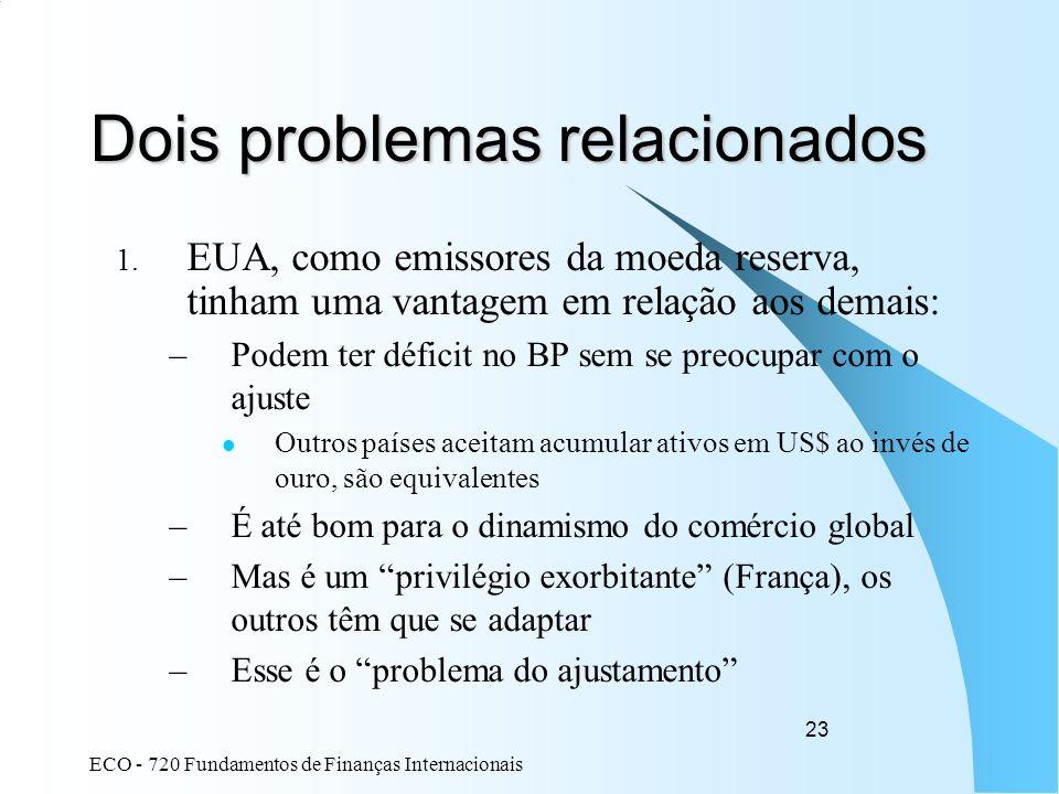 ECO - 720 Fundamentos de Finanças Internacionais 23 Dois problemas relacionados 1. EUA, como emissores da moeda reserva, tinham uma vantagem em relaçã
