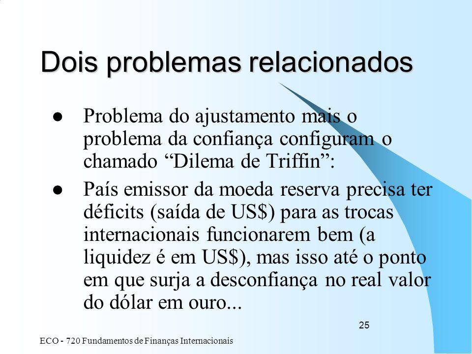 ECO - 720 Fundamentos de Finanças Internacionais 25 Dois problemas relacionados Problema do ajustamento mais o problema da confiança configuram o cham