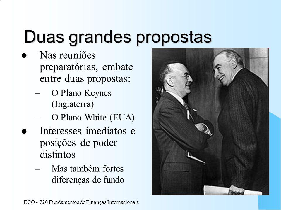 ECO - 720 Fundamentos de Finanças Internacionais 7 Duas grandes propostas Nas reuniões preparatórias, embate entre duas propostas: –O Plano Keynes (In