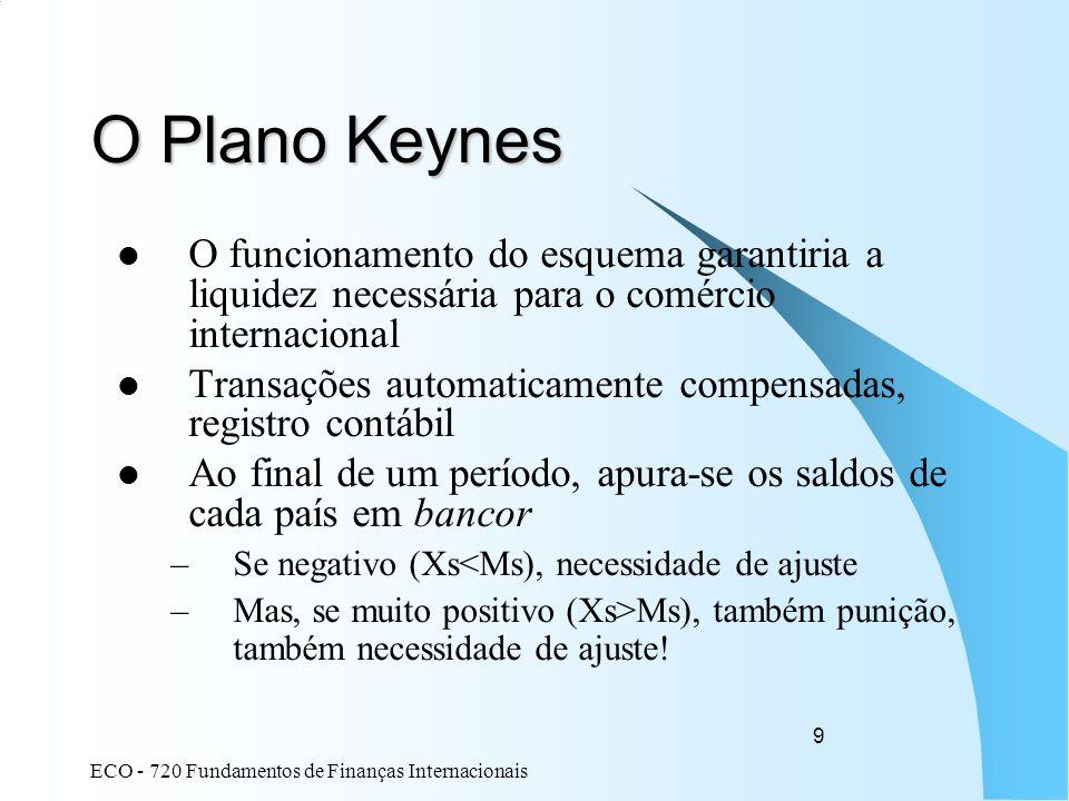 ECO - 720 Fundamentos de Finanças Internacionais 9 O Plano Keynes O funcionamento do esquema garantiria a liquidez necessária para o comércio internac