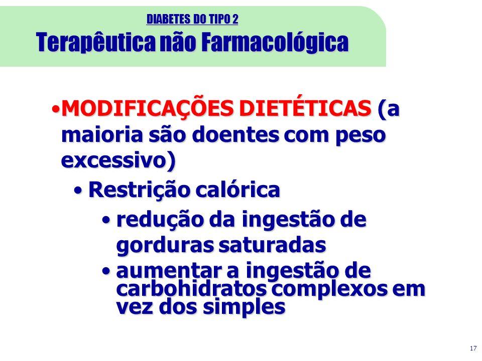 DIABETES DO TIPO 2 Terapêutica não Farmacológica 17 MODIFICAÇÕES DIETÉTICAS (a maioria são doentes com peso excessivo)MODIFICAÇÕES DIETÉTICAS (a maior