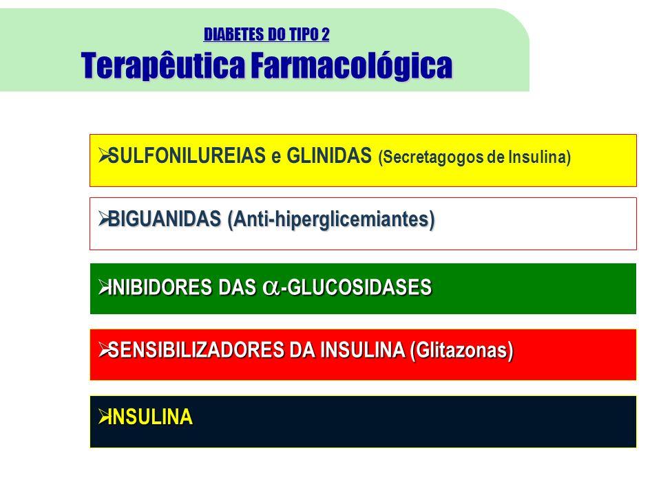 DIABETES DO TIPO 2 Terapêutica Farmacológica 19 SULFONILUREIAS e GLINIDAS (Secretagogos de Insulina) BIGUANIDAS (Anti-hiperglicemiantes) BIGUANIDAS (Anti-hiperglicemiantes) INIBIDORES DAS -GLUCOSIDASES INIBIDORES DAS -GLUCOSIDASES SENSIBILIZADORES DA INSULINA (Glitazonas) SENSIBILIZADORES DA INSULINA (Glitazonas) INSULINA INSULINA