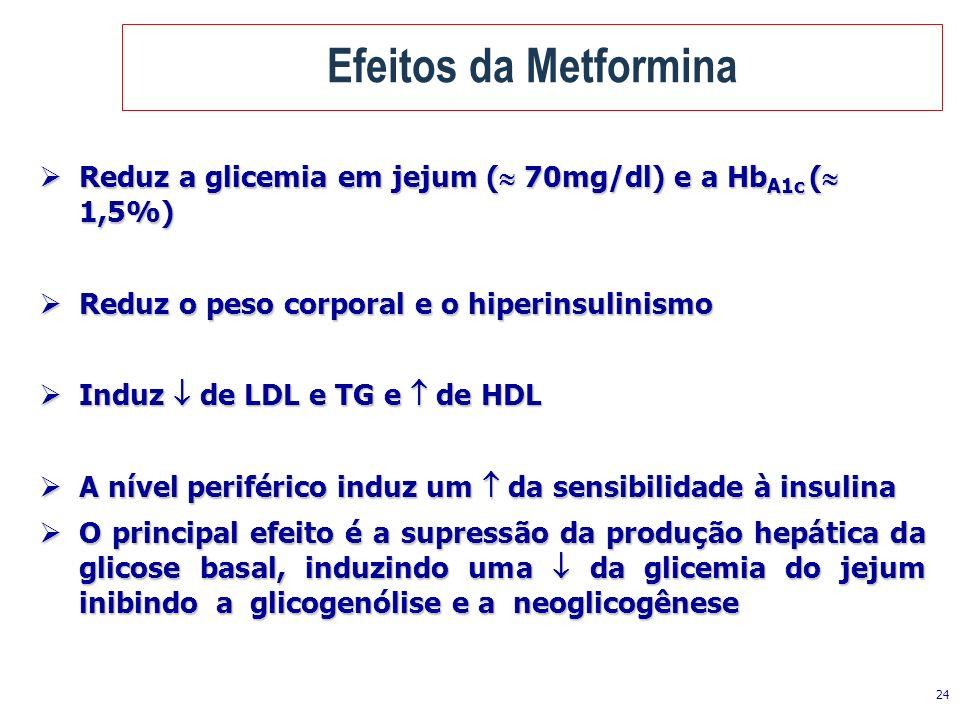 24 Efeitos da Metformina Reduz a glicemia em jejum ( 70mg/dl) e a Hb A1c ( 1,5%) Reduz a glicemia em jejum ( 70mg/dl) e a Hb A1c ( 1,5%) Reduz o peso
