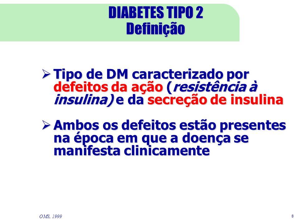 8 DIABETES TIPO 2 Definição Tipo de DM caracterizado por defeitos da ação (resistência à insulina) e da secreção de insulina Tipo de DM caracterizado por defeitos da ação (resistência à insulina) e da secreção de insulina Ambos os defeitos estão presentes na época em que a doença se manifesta clinicamente Ambos os defeitos estão presentes na época em que a doença se manifesta clinicamente OMS, 1999