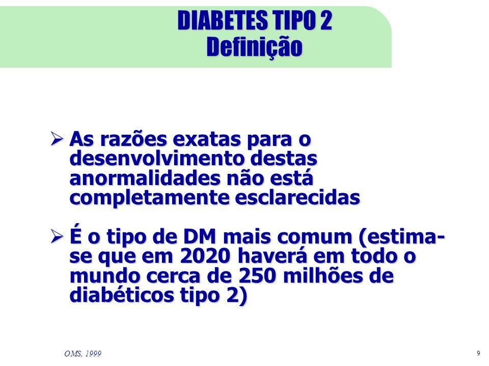 9 DIABETES TIPO 2 Definição As razões exatas para o desenvolvimento destas anormalidades não está completamente esclarecidas As razões exatas para o d