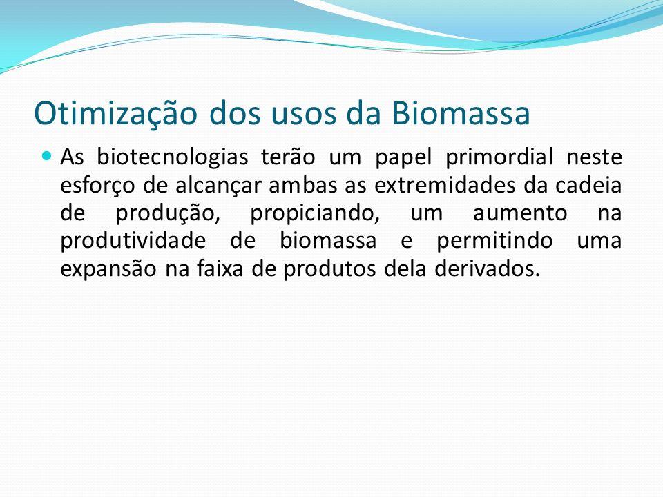 Otimização dos usos da Biomassa As biotecnologias terão um papel primordial neste esforço de alcançar ambas as extremidades da cadeia de produção, pro