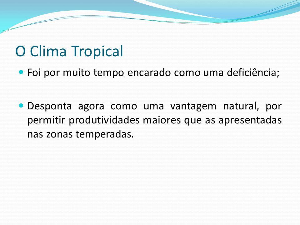 O Clima Tropical Foi por muito tempo encarado como uma deficiência; Desponta agora como uma vantagem natural, por permitir produtividades maiores que
