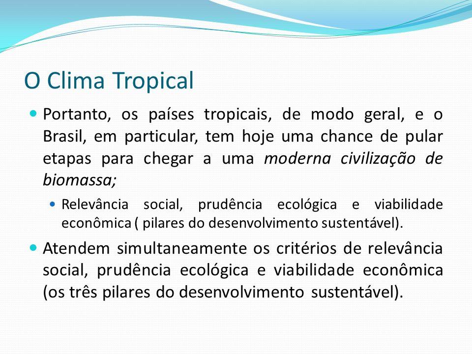 O Clima Tropical Portanto, os países tropicais, de modo geral, e o Brasil, em particular, tem hoje uma chance de pular etapas para chegar a uma modern