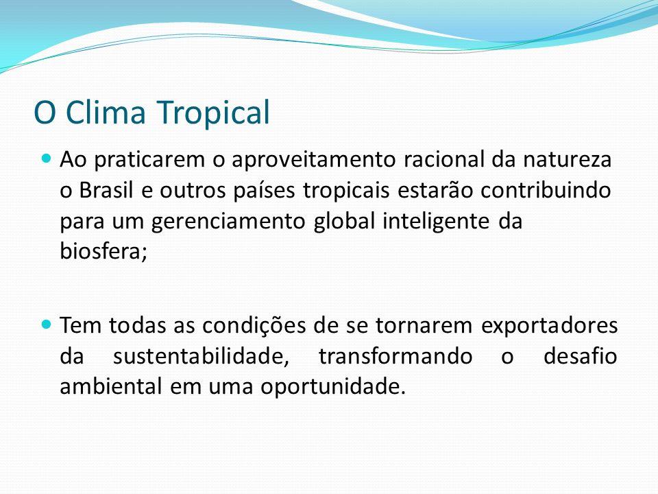 O Clima Tropical Ao praticarem o aproveitamento racional da natureza o Brasil e outros países tropicais estarão contribuindo para um gerenciamento glo