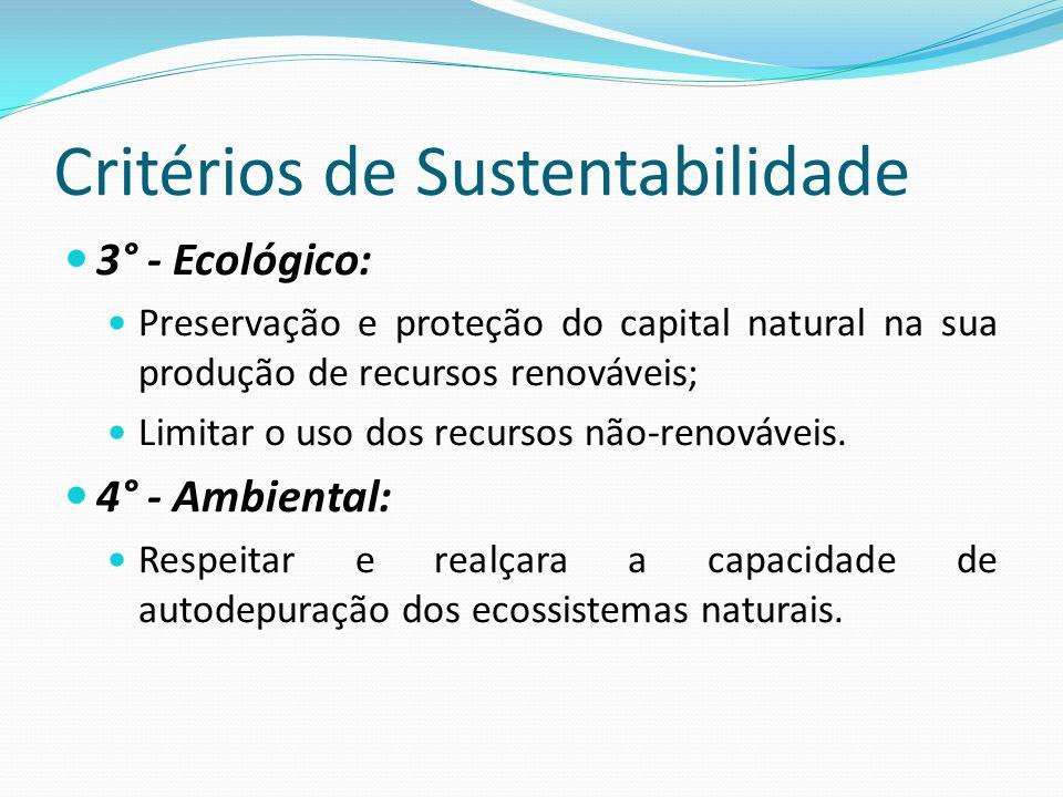 Critérios de Sustentabilidade 3° - Ecológico: Preservação e proteção do capital natural na sua produção de recursos renováveis; Limitar o uso dos recu